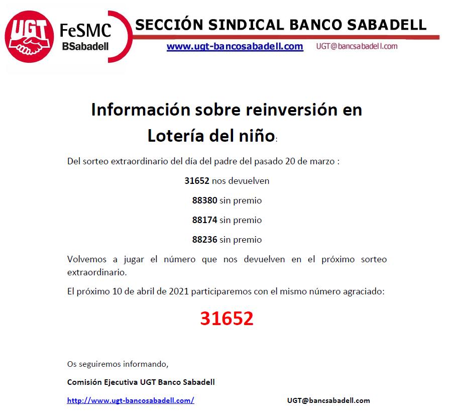 Información sobre reinversión en Lotería del niño